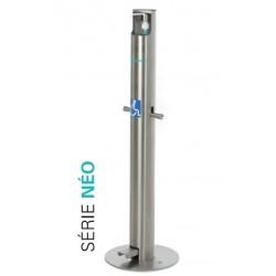 Distributeur gel hydroalcoolique à pédale inox professionnel 500ml normes PMR NEO